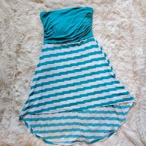 Stripped Blue and White Strapless Summer Dress